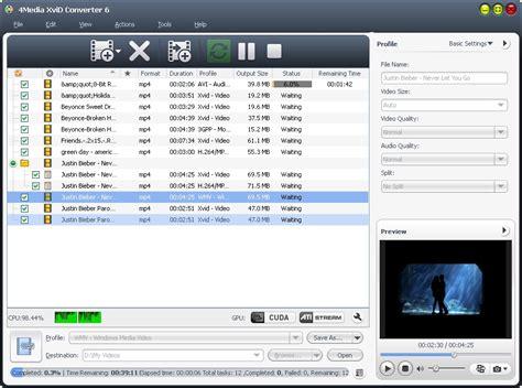xvid format converter 4media xvid converter full windows 7 screenshot windows