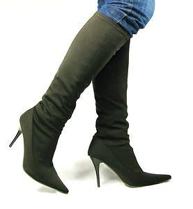 new womans wide calf fit knee high heel brown