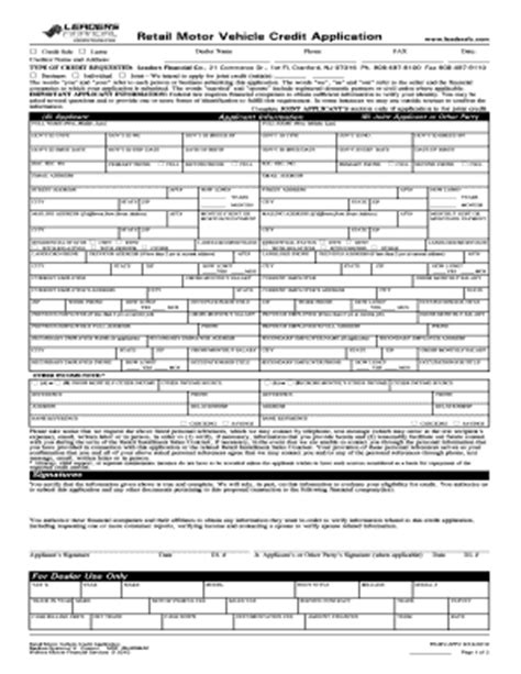 Credit Application Form Auto Retail Motor Vehicle Credit Application Fill Printable Fillable Blank Pdffiller