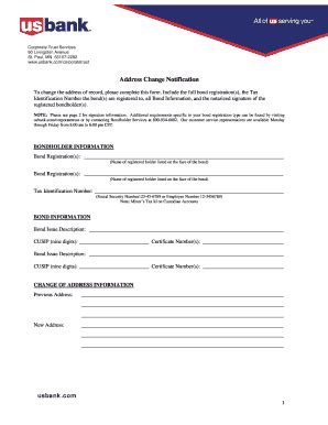 usbank address change fill printable fillable blank pdffiller