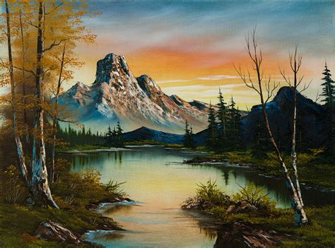 bob ross painting lake sunset lake painting by c