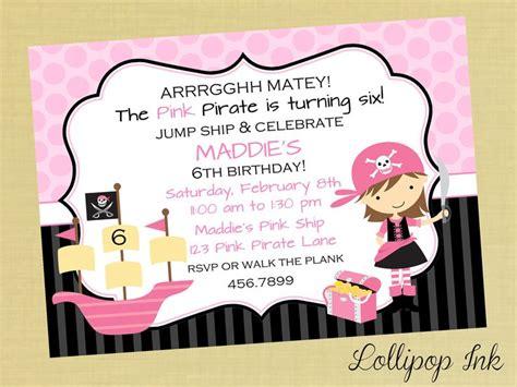 printable birthday invitations pirate pink pirate printable invitation pink pirate personalized
