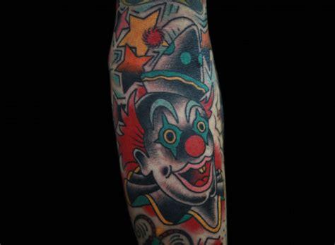 new school clown tattoo arm old school clown tattoo by inkrat tattoo