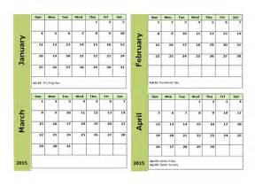 three month calendar template 2015 four monthly calendar template free printable templates
