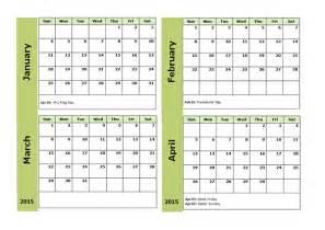 2015 monthly calendar word template 2015 four monthly calendar