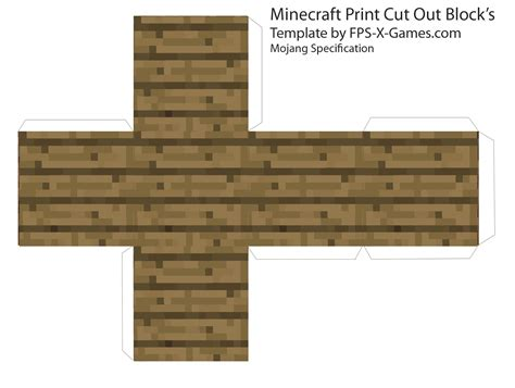 Minecraft Papercraft Blocks - minecraft wood plank block papercraft cut out
