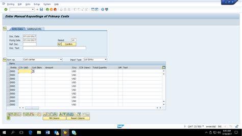 tutorial sap co sap adjustment postings tutorial free sap co training
