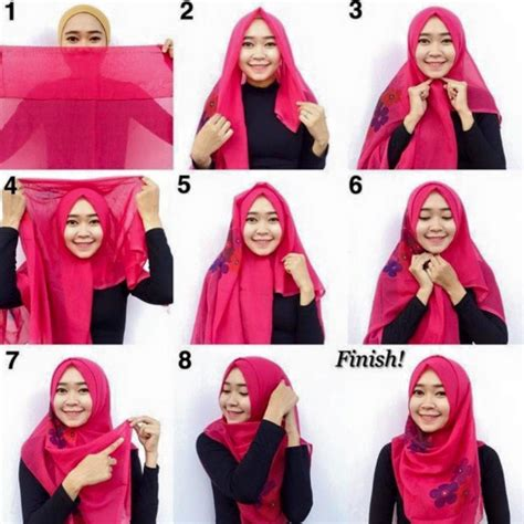 Gaya Jilbab Segi Empat Simple tutorial pesta simple segi empat modern terbaru 2016
