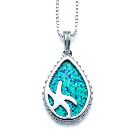 blue opal necklace silhouette starfish blue opal necklace landing company