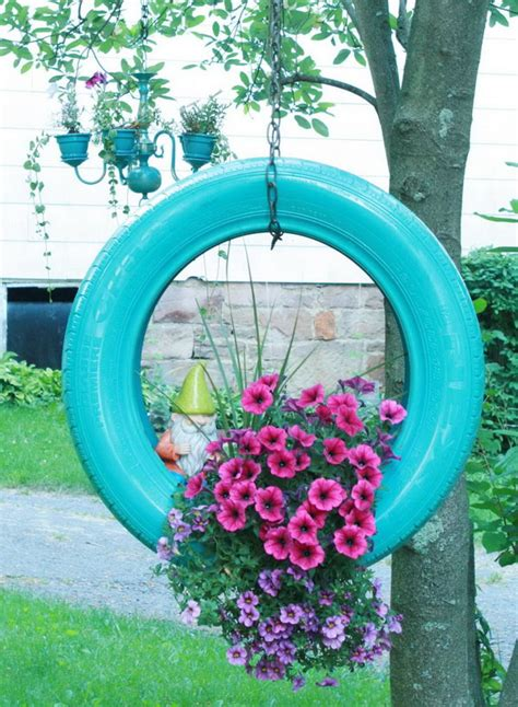 Hanging Flower Planter by 20 Creative Ways To Repurpose Tires Hative