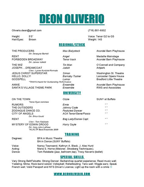 Theater Resume by Theater Resume Acting Template Pdf Word Child Actor Easy