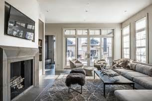 Sheepskin Rug On Chair Gray Living Rooms Contemporary Living Room