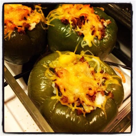 Cooks Whole White Pepper stuffed bell peppers with cheese sausage and rice