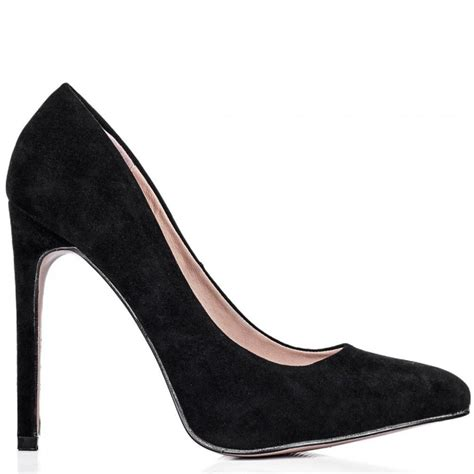 buy ynot stiletto heel pointed toe court shoes black suede