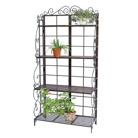 Planter Stands Indoors by Black Metal Indoor Outdoor Planter Stand With 4 Shelves