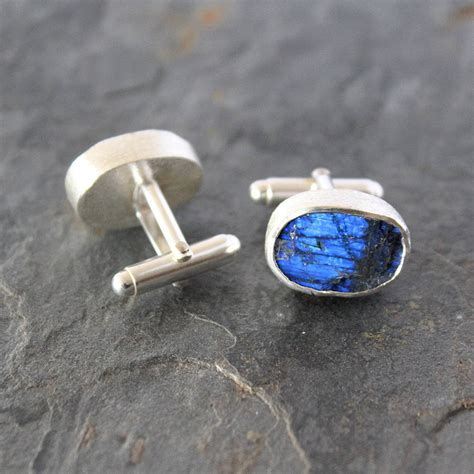 Handmade Silver Cufflinks - mens gemstone handmade silver cufflinks by poppy