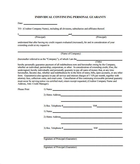 Personal guarantee form sample personal guarantee form 9 download sample of personal guarantee form cover letters template spiritdancerdesigns Image collections