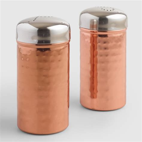 salt and pepper shakers hammered copper salt and pepper shakers set of 2 world