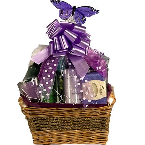 relaxing bath gift basket for a lavender bath basket