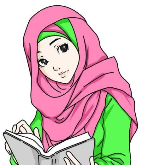 Collection Gambar Hijab Kartun Anak Muslim 15 Belajar Unik