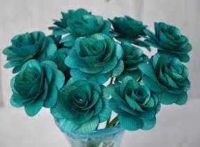 teal colored flowers teal wooden roses two dozens with wire stem 2 inches
