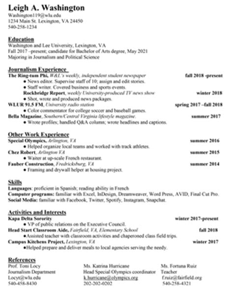Resume Sle Mass Communication Help With Resumes And Cover Letters Washington And