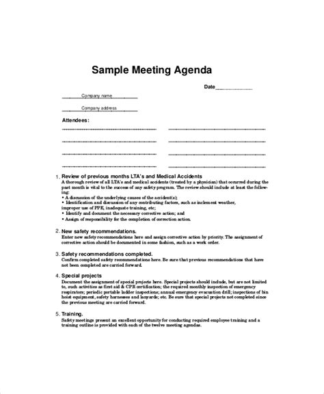 monthly safety meeting template safety meeting agenda template 8 free word pdf