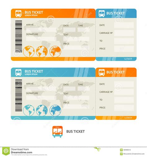 bus ticket vector stock vector image 58389012