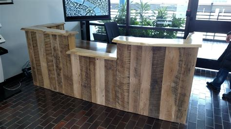 Rustic Reception Desk Custom Made Rustic Reclaimed Wood And Live Edge Reception Desk By Re Dwell Custommade