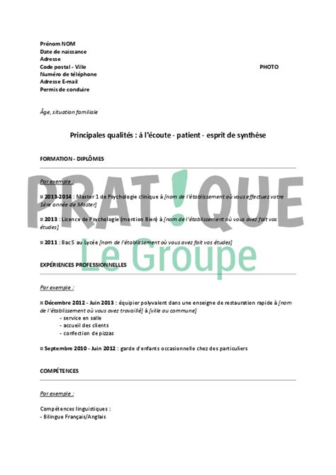 Lettre De Motivation Stage Psychologie Exemple Cv Stage Psychologie Cv Anonyme