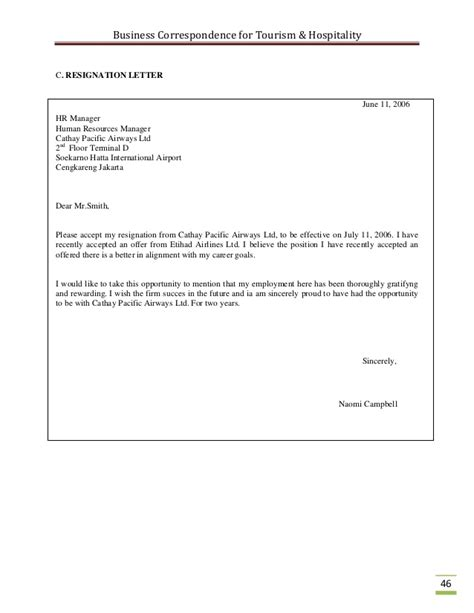 Resignation Letter Format Hotel Industry business correspondence for the tourism industry