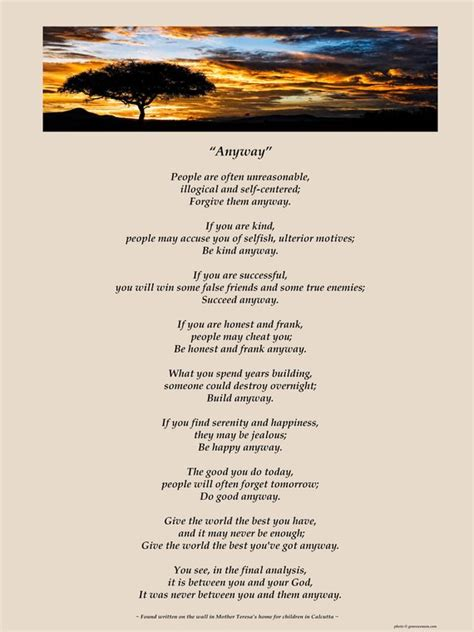 Do It Anyway Poem Printable