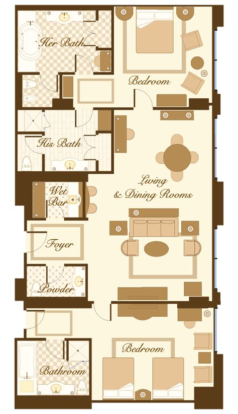 bellagio hotel room layout casas fachadas planos duplex