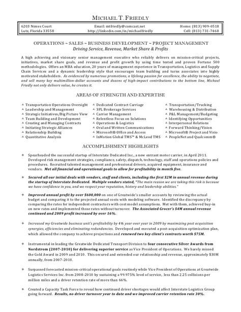 Truck Broker Sle Resume by Mike Friedly Resume
