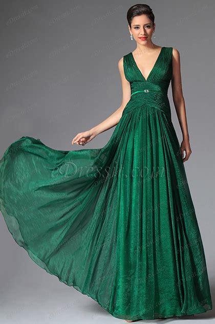 edressit dark green deep  cut long evening prom gown