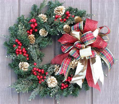 Winter Wreaths For Front Door Front Door Wreath Plaid And Gold Winter Wreath