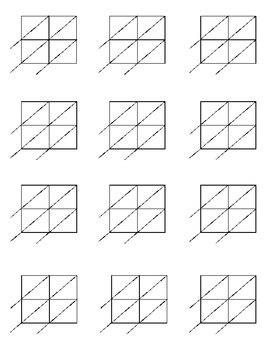 lattice multiplication blank forms for 2x2 and 2x3