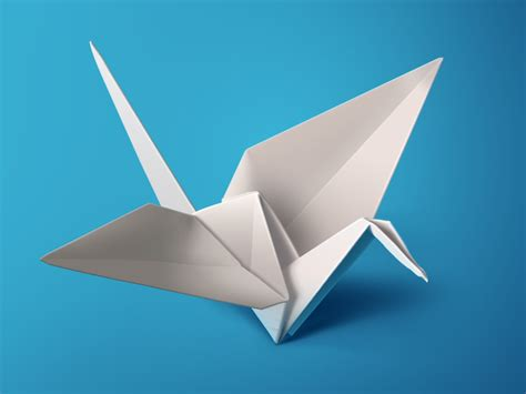 Paper Origami Bird - white origami bird ps by charhen dribbble