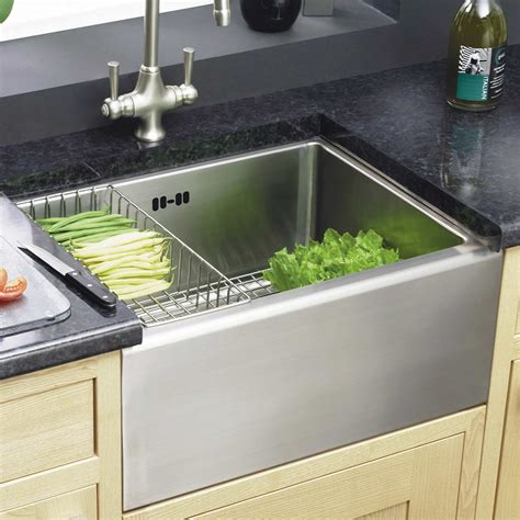 kitchen with belfast sink astracast stainless steel belfast sink feature pack