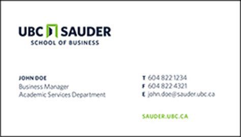 mba business cards templates stationery ordering ubc sauder school of business