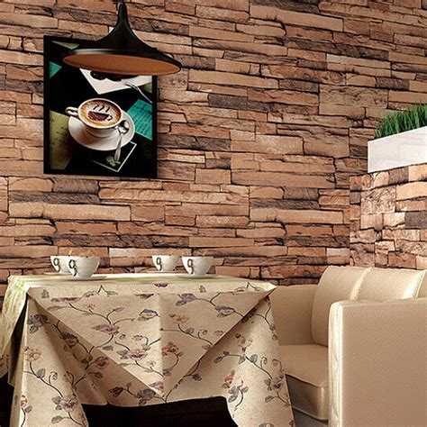 3d wallpaper for home decoration 10m 3d wallpaper roll pvc brick grain waterproof wallpaper natural wood pulp dull polish wall