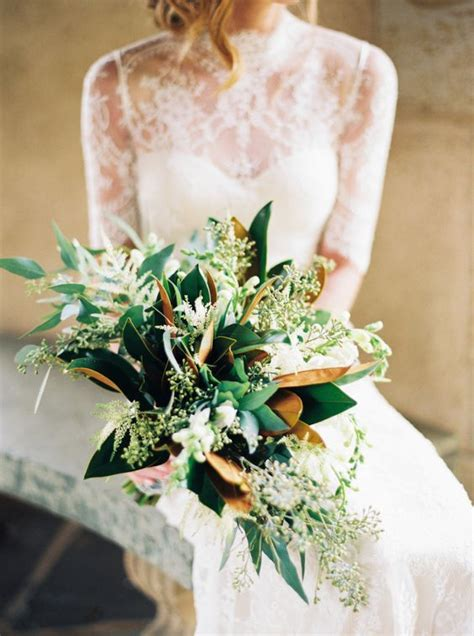 Picture Of a bridal bouquet with magnolia leaves and