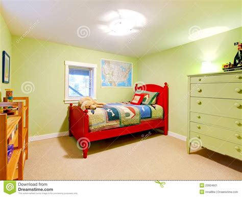 kids red bedroom green boys kids bedroom with red bed stock image image