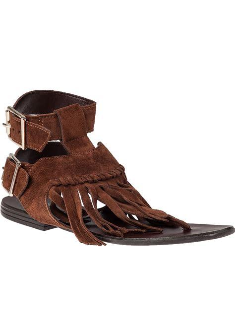 fringe sandals steve madden lexee fringe sandal chestnut suede in