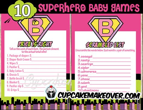 superhero girl baby shower games instant