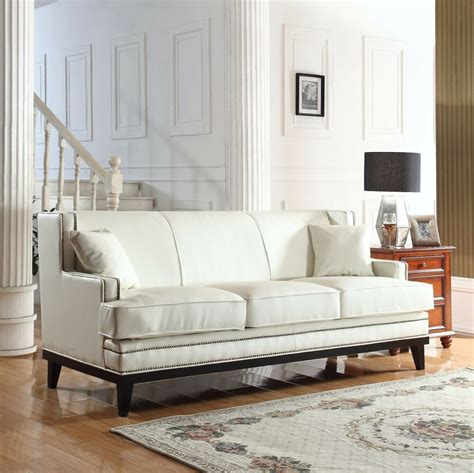 Leather Sofa Nailhead by Modern Soft Bonded Leather With Nailhead Trim Details