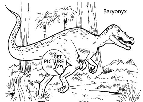 baryonyx dinosaur coloring pages for kids printable free