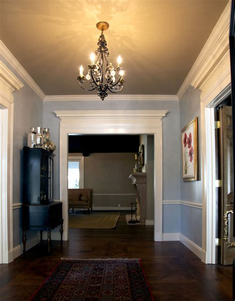 interior door trim molding for 8 foot ceilings entry hall before after traditional entry dallas