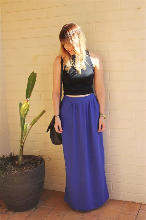 topshop cropped polo supre blue maxi skirt