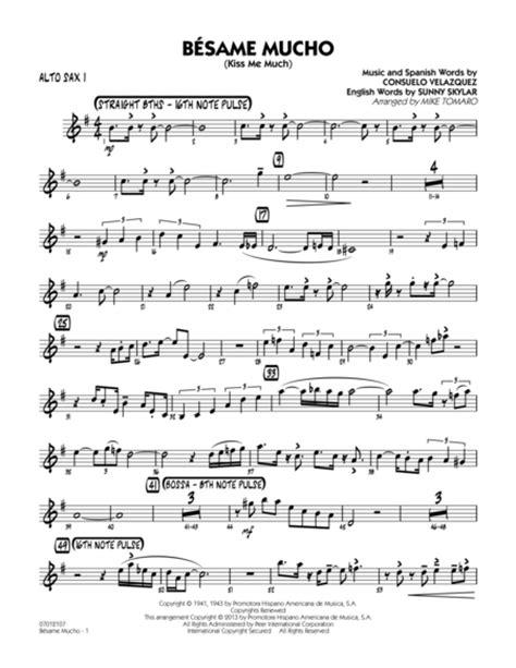 besame mucho piano cover besame mucho me much alto sax 1 sheet